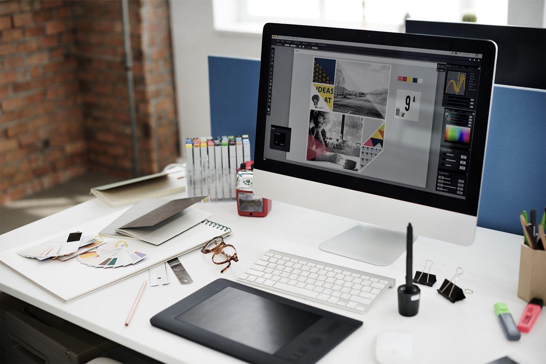 Una computadora para el diseño gráfico.