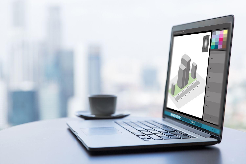 Una computadora portátil para el trabajo con diseño gráfico