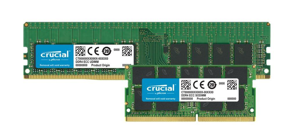 Los módulos de memoria ECC DDR4 Crucial.