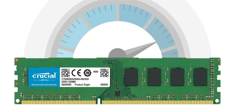 Un módulo de memoria RAM Crucial frente a un velocímetro que indica la velocidad rápida