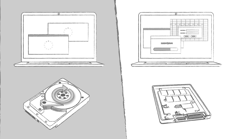 Una ilustración que demuestra los beneficios de una SSD en comparación con una unidad de disco duro cuando corresponde a los tiempos de carga del programa informático