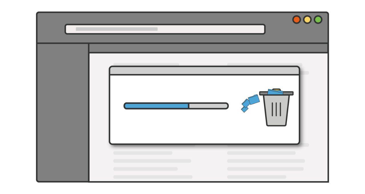 Ilustración de una barra de avance a medida que se eliminan los programas o las aplicaciones no usadas de una computadora
