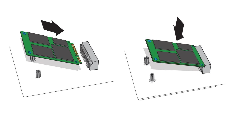 Una ilustración para demostrar cómo una unidad SSD mSATA se inserta en  el enchufe de mSATA en la  motherboard de una computadora de escritorio
