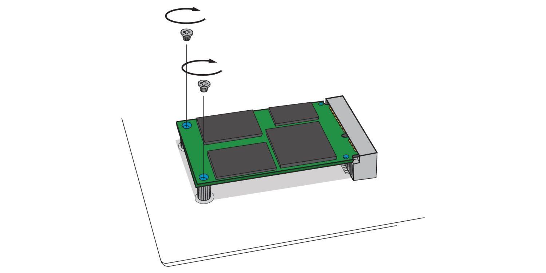 Una ilustración para demostrar cómo atornillar una unidad nueva de SSD mSATA en el enchufe de mSATA de la motherboard de una computadora de escritorio