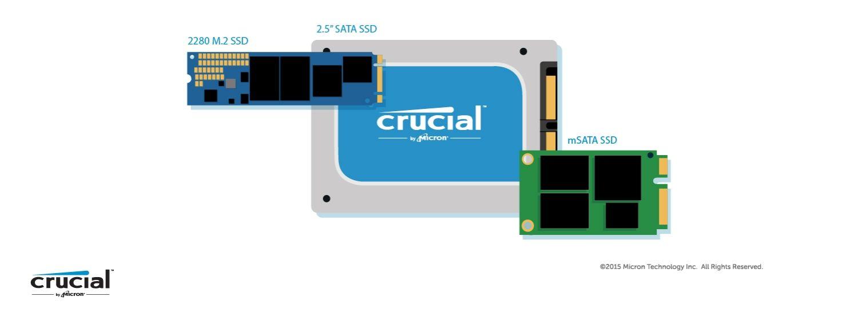 Ilustración de los 3 factores de forma diferentes de una SSD