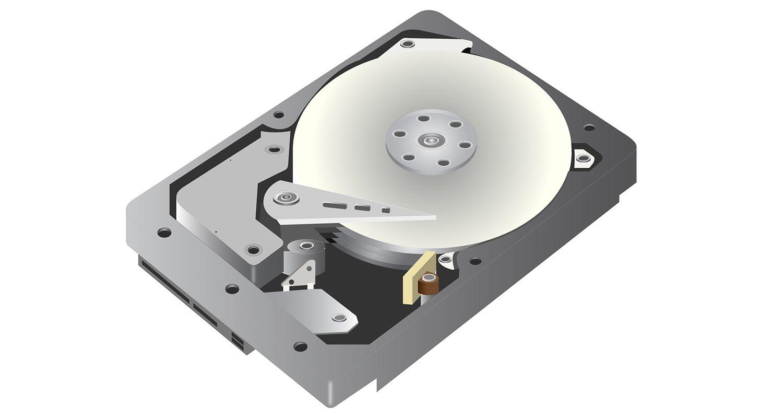 Representación del gráfico de un vector perteneciente a la unidad de disco duro (HDD) en un fondo blanco