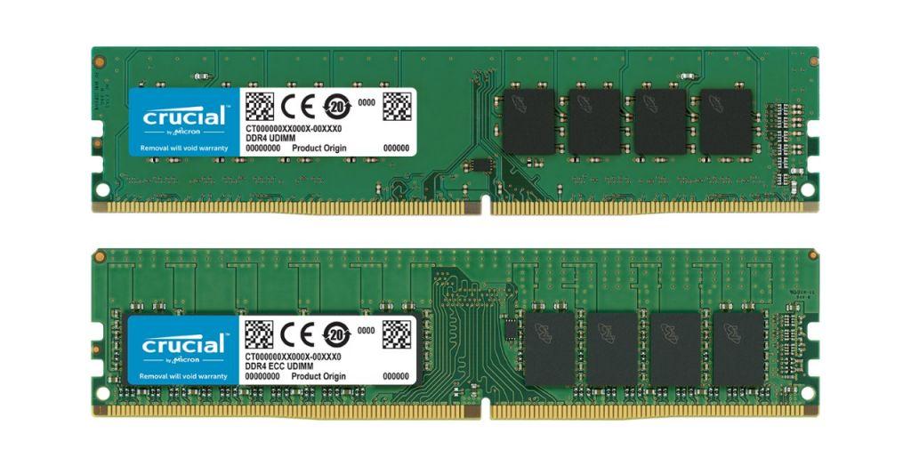 Módulo de memoria RAM Crucial con y sin ECC