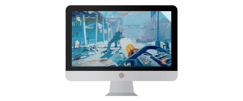 Monitor de computadora Mac con función de videojuegos en la pantalla.