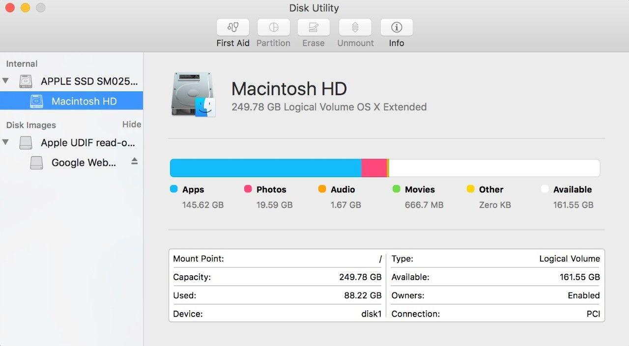 Instantánea de la ventana emergente de la herramienta de disco en una Mac