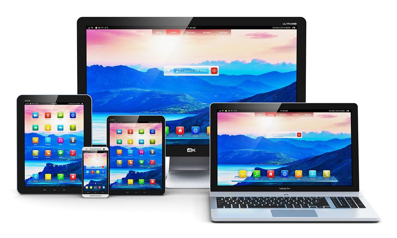 Computadora de escritorio, computadora portátil, tableta y teléfono