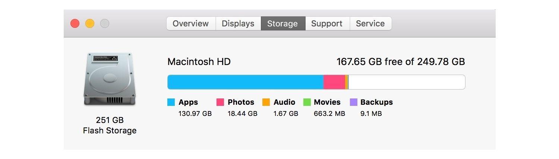 Información de almacenamiento para Mac.