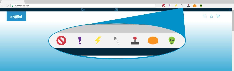 Una ilustración de extensiones de navegador en una ventana de navegador