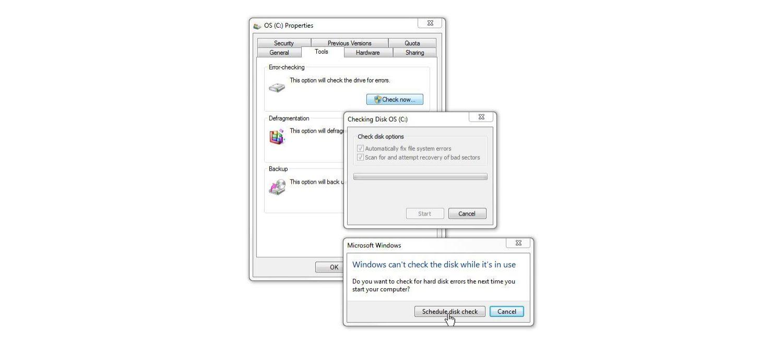 Ventana de revisión de disco de Windows 7