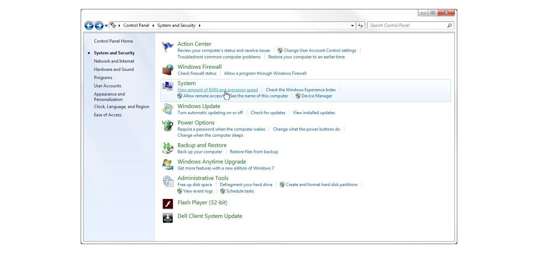 Ventana de Sistema y seguridad de Windows 7