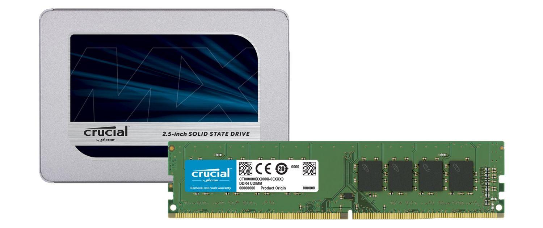 Módulos de SSD Crucial y memoria RAM