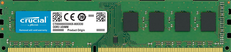 Memoria RAM Crucial para una computadora aislada en un fondo blanco